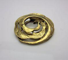 Vintage Costume Jewellery Scarf Or Dress Clip Open Modernist Design Floral Leaf Leaves Gold Tone Metal Circa 1980s