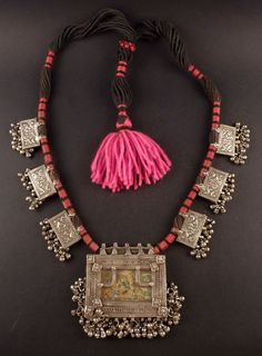 Rajasthan old silver filigree pendant, indian jewelry, necklace from India…