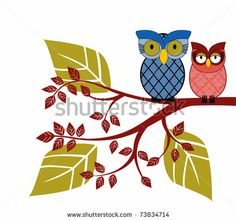 Charming owls perched on a branch - different patterns by debra hughes, via Shutterstock