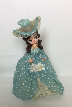 """Bradley Doll """"Sally"""" Southern Bell - Victorian doll -Blue Polka Dots Dress - 70s Collectible Doll - Original Box and Certificate by Anaforia on Etsy"""