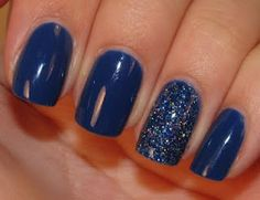 combine different nail polishes for a cool look! used OPI Dating Royal and Icing Epic Winning for the sparkles.