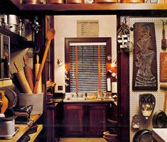"""Julia Child's """"Little House in Cambridge"""", shot for Architectural Digest 1979.  The cozy working kitchen of a legend."""