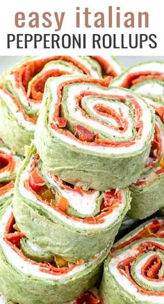 Pepperoni Roll Ups {Italian Pinwheels with Garlic Cream Cheese} Your favorite pizza toppings alongside garlic cream cheese all rolled up in a tortilla. These Italian Pepperoni Roll ups are the ideal lunch, appetizer or snack for pizza lovers everywhere. Yummy Appetizers, Appetizer Recipes, Snack Recipes, Cooking Recipes, Italian Appetizers, Skillet Recipes, Cooking Tools, Italian Snacks, Kid Cooking