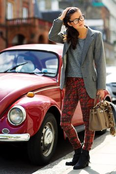 My Style!!!! Especially the VW. Wish I still had it!!!! Too, love, love gray and red plaids!!! Professional fashion statement!!!!!!