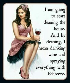 Funny: I am going to start cleaning the house. And by cleaning, I mean drinking wine and spraying everything with Febreeze. Wine Quotes, Wine Sayings, Wine Time, Mixed Media Artists, Me Clean, Clean Freak, Up Girl, Sassy Girl, Wine Drinks