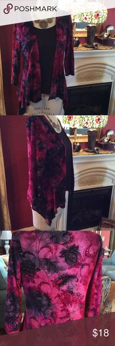 2 Piece Connection Black shell connected to beautiful velvet embossed light weight flowing 3/4 length sleeved jacket/blouse. Berry colored with some black in the design. Sami Jo Tops Blouses