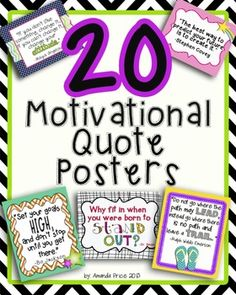 Twenty bright and colorful motivational quote posters! Perfect to go along with The Leader in Me and The 7 Habits. High resolution 8x10 poster bundle.