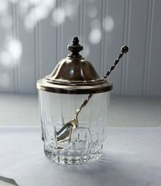 Vintage Glass Jam // Jelly Jar with Silver Plated by RedouxChic, $18.00
