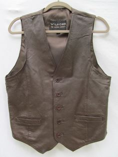 $29 NEW Mens WILSONS Sz S Brown Leather Front Vest Formal Suit Button Up Best Man  #WilsonsLeather