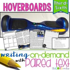 Hover Boards Differentiated Paired Texts Bundle for Writing On-Demand Argumentative and Opinion Essays. Includes graphic organizers, checklists, texts, and lesson plan.