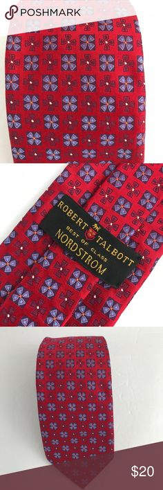 Robert Talbott Best Of Class Red Floral Silk Tie Robert Talbott Best Of Class Men's Tie Nordstrom 100% Silk, thick quality like Jacquard weave. Red Floral with light purple contrast on flowers Sold at Nordstrom  VGUC to excellent.  Clear spot on lining, appears like a glue remnant from tag, see pix #5.  No holes or other issues.  Measurement Item Flat in Inches: Length: 59 Width: 3.5 Robert Talbott Accessories Ties