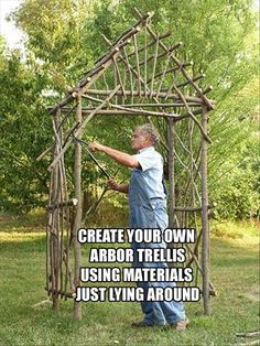 Make Your Own Willow Arbor Arbor using small trees, branches, twigs. This would be so easy --- just outside the bedroom window! Your Own Willow Arbor Arbor using small trees, branches, twigs. This would be so easy --- just outside the bedroom window! Garden Crafts, Garden Projects, Wood Projects, Arbors Trellis, My Secret Garden, Garden Structures, Outdoor Structures, Small Trees, Outdoor Projects