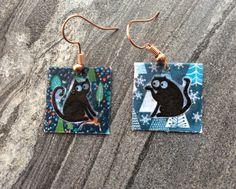 Cat earrings, square earrings, funky earrings by SamsabyElena on Etsy