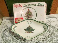 Spode Christmas Tree China Pickle Dish EUC In Box Ceramic Ivory S3324-K #Spode