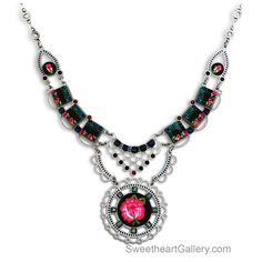 Rosalinda Necklace 1534909, By Yoolie's, Swarovski Crystal, Hand Painted Black, Teal, And Bright Pink, Stainless Steel, Artistic Artisan Designer Jewelry