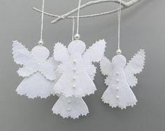 Set Of 6 Christmas Felt Angel Decoration Felt Angel Decoration White Angel  Christmas Decoration MADE TO ORDER | Felt Angel, Ornament And Felting