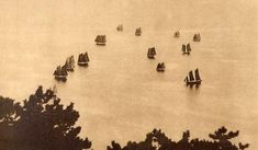 """A FLOCK OF SAILS FLYING ON WATER. Okinawa Soba, via Flickr.  THIS IMAGE is one of several examples of a largely ignored facet of Old Japanese Photography -- a genre called """"TAISHO ART"""" or """"TAISHO PICTORIAL PHOTOGRAPHY"""". The pictorialism movement in Japan reached its peak during the reign of EMPEROR TAISHO (1912-26)"""