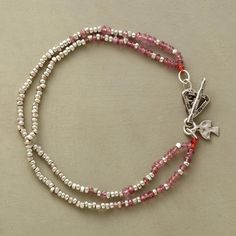 TWO TIMES TOURMALINE BRACELET�--�Two strands of pink tourmaline rondelles and faceted sterling silver beads come full circle at a triangular toggle clasp. Handcrafted exclusive. 7-1/2L.