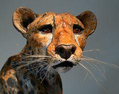 orange - cheetah head - ceramic sculpture - Lesley McKenzie