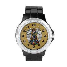 Russian Icon Guardian Angel Watch - At Christmas and on every day of the year, it's a good thing to keep your guardian angel near! Original digital painting based on the many beautiful enameled Russian Icons commissioned by Tzar Nicholas. A golden background and large fonts make it easy to read. Sold only @ www.zazzle.com/watchyouwant+gifts?rf=238155573613991097&tc=pnt #christmaswatch #angelwatch