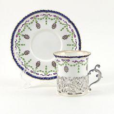 Antique Silver 6 pc Coffee Demitasse Set w/Royal Worcester Porcelain at ChatsworthVintage on Etsy, $350