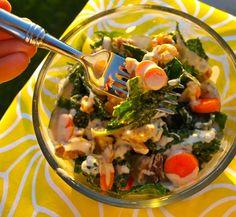 Massaged kale salad with orange-tahini dressing   Happy Healthy Mama