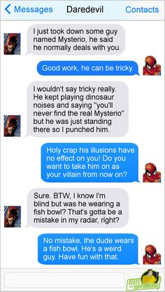 """textsfromsuperheroes: """" The Best of Daredevil (and Punisher) on Texts From Superheroes Keep reading """" Funny Marvel Memes, Dc Memes, Marvel Jokes, Marvel Dc Comics, Marvel Heroes, Funny Comics, Marvel Avengers, Avengers Texts, Superhero Texts"""