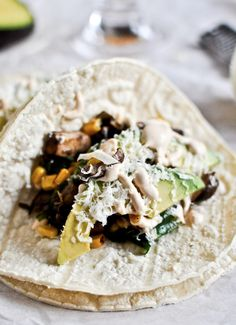 Grilled Corn, Mushroom + Roasted Poblano Tacos with Chipotle Crema | howsweeteats.com