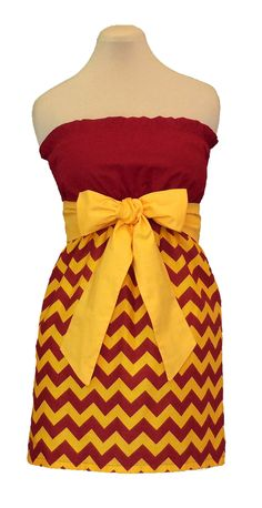 www.gameondresses... Game Day Chevron! Rock your school colors on game day, for rush or around campus with the Maroon/Cardinal and Gold chevron dress, just $39.99. We have over 65 dresses in all the great school colors. Go Arizona State Sun Devils! Go USC Trojans!