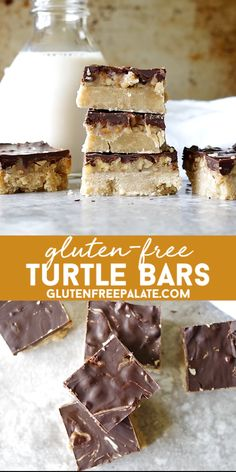 Gluten-Free Turtle Bars Gluten-Free Turtle Bars,Gluten-Free Palate Recipes These melt in your mouth Gluten-Free Turtle Bars have the perfect buttery crunch. The cookie layer, caramel, pecans, and dark chocolate will have your mouth singing. Brownie Sans Gluten, Cookies Sans Gluten, Gluten Free Christmas Cookies, Dessert Sans Gluten, Bon Dessert, Dessert Bars, Dessert Recipes, Gluten Free Bars, Gluten Free Deserts