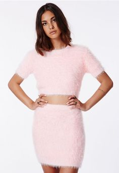 e419ebf1b Ashlyn Fluffy Knit Mini Skirt Baby Pink - Skirts - Missguided Pink Outfits,  Fashion Outfits