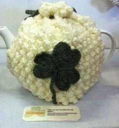 Etsy Ireland Crochet Cream Tea Cozy with Shamrock detail Handmade Bobble Stitch Crochet, Knit Crochet, Crochet Hats, Tea Cozy, Coffee Cozy, Knitted Tea Cosies, Cream Tea, Green Wool, My Tea