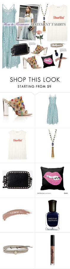 """""""How to Romance Statement T-Shirt"""" by watereverysunday ❤ liked on Polyvore featuring Perseverance London, Rebecca Minkoff, Tory Burch, Valentino, Topshop, Deborah Lippmann, Chan Luu and NYX"""