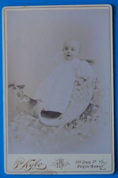 CC89 Cabinet Card ID'd baby in a sled prop Myrtle Force Perth Amboy NJ. 1880's