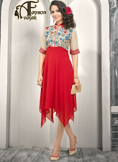 Beige And Red  Color Faux Georgette Kurti.This kurti has Red & Blue color floral embroidery work on neck line and Red Color Layer skirt.