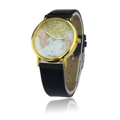 Rose red popular stripes watch pu leather woman men analog quartz casual leather world map watch gumiabroncs Gallery