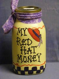 Special Activities Money Jars as Personalized in USA with your name or design your own hand painted money jars banks with coin slot Made in America. Red Purple, Red And Pink, Red Hat Club, Money Jars, Red Hat Ladies, Wearing Purple, Craft Sites, Red Hat Society, Hat Crafts