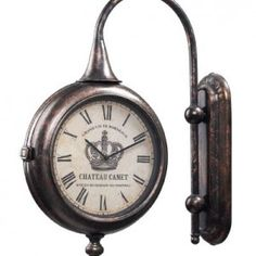 Sterling Home Bronze Double-Sided Train Station Style Chateau Wall Clock