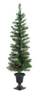 "$29.99-$39.99 ""CELEBRATIONS"" LIGHTED PORCH TREES        * 2 trees per box      * 4 ft. tall      * 117 tips      * 19"" diameter      * 50 multi lights"