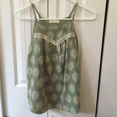 Pretty Detailed Tank Perfect condition.  Detailed with a pretty print design and lace. Tops Tank Tops