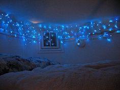 weihnachtsbeleuchtung im schlafzimmer gardinen lichterkette kissen, Deko ideen