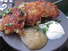 Potato Latkes with Tofu Sour Cream and Applesauce #vegan #vegetarian