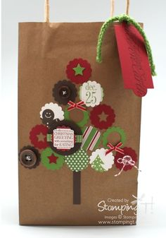 Stampin' Up! Stamping T! - Christmas Gift Bag...made with stamps but shapes are like bottle caps!