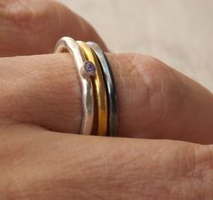 Stacking Dainty Ring Set, Sterling Silver-Gold Plated-Black Oxidized Thin Band Rings, Trending Mix and Match Jewelry