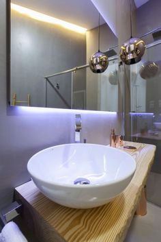 baño espejo led rustico chic decoracion
