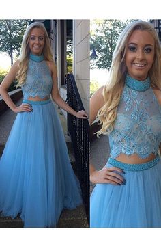 Sexy Mermaid High Neck Blue Two Piece Prom Dress Wtih Appliques Beading