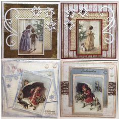 group of four Christmas cards ... Vintage joulukortit 4 by minna0402 ... shabby chic ... vintage prints matted and framed on cards with die cuts and ribbons ...