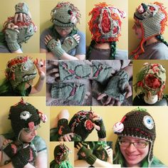 Zombie fingerless gloves knit and crochet torn skin made to order | tinybully - Accessories on ArtFire