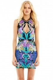 Custom floral/crystal Nookie printed Jersey knit in amazing keyhole style body con dress.