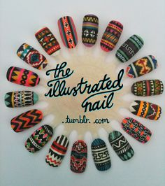 tribal nails by the illustrated nail @Whodid Muñoz Muñoz @Maiv Tooj Tsab Xyooj Roo-Li !!! estas son las siguientes!!!!
